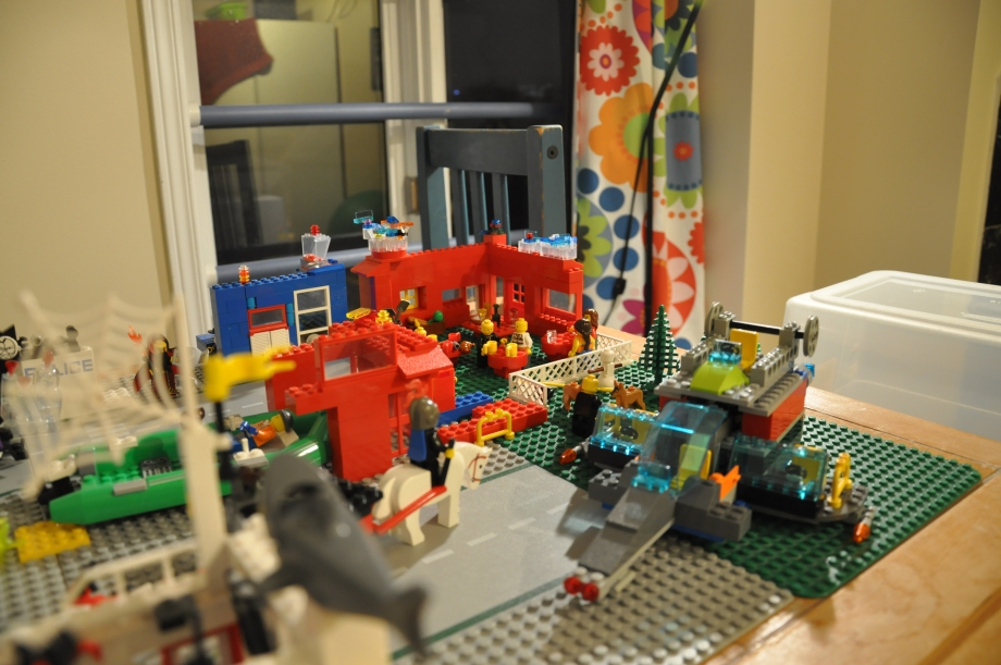 There was a disaster and an earthquake flattened the city.  But the people rebuilt... newer and better coffee shops, bigger hat shops and more spaceships.